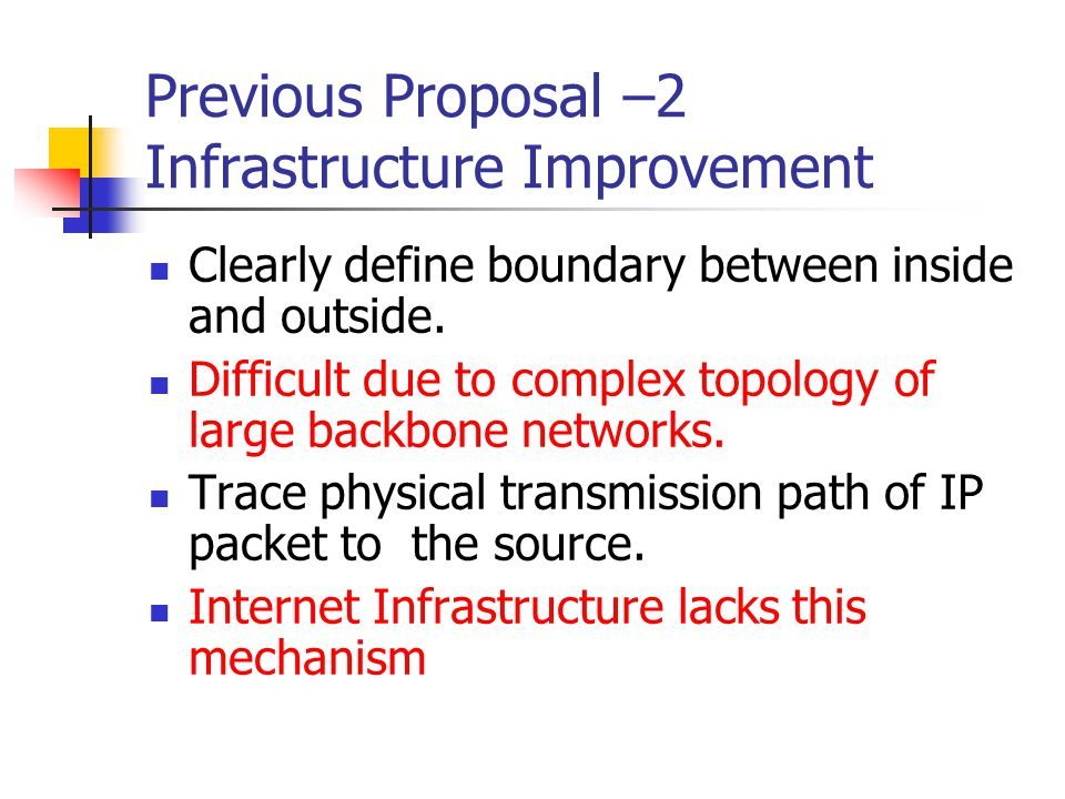 Previous Proposal –2 Infrastructure Improvement