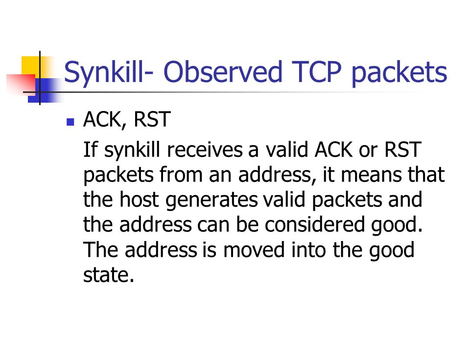 Synkill- Observed TCP packets
