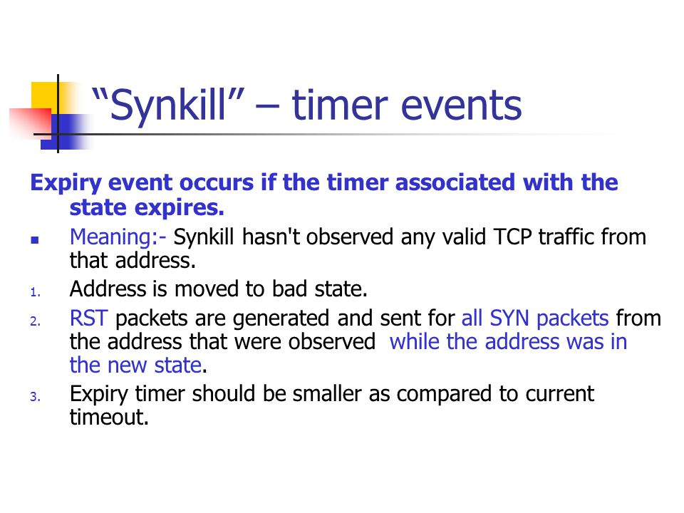 Synkill – timer events
