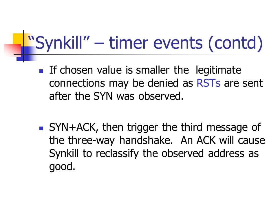 Synkill – timer events (contd)
