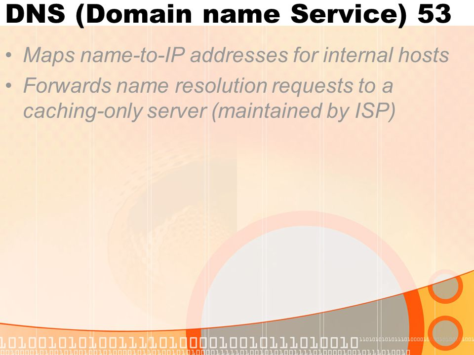 DNS (Domain name Service) 53