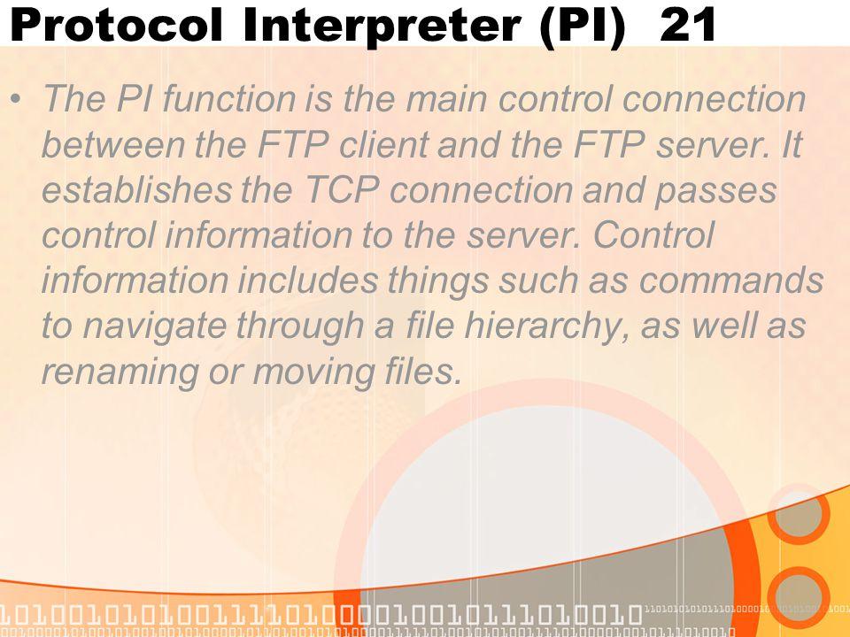 Protocol Interpreter (PI) 21