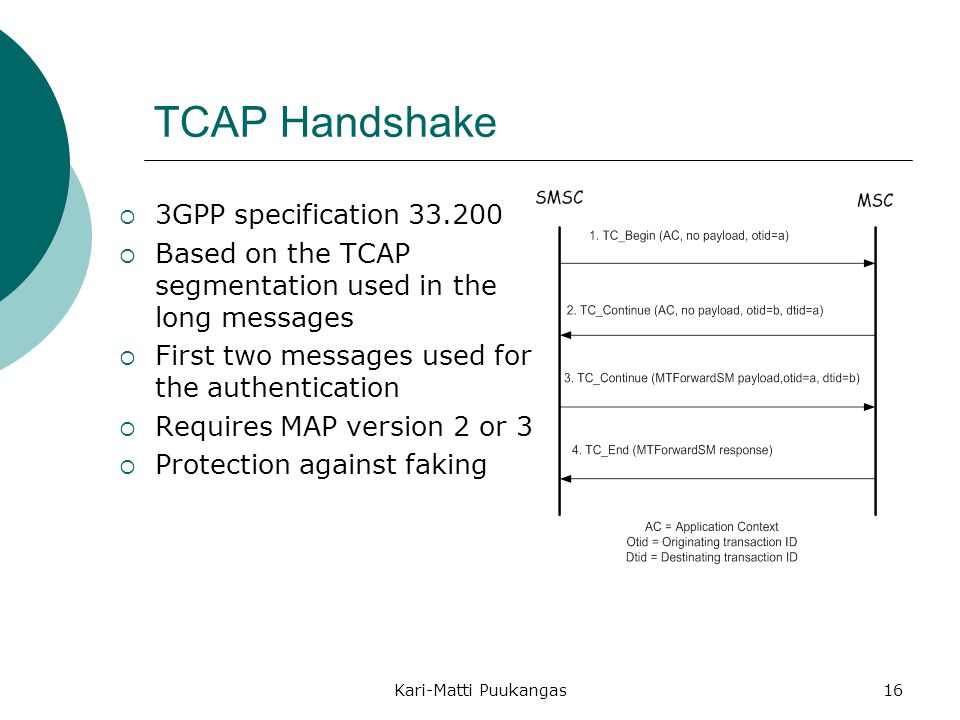 TCAP Handshake 3GPP specification 33.200