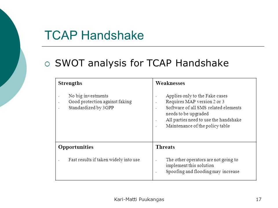 TCAP Handshake SWOT analysis for TCAP Handshake Strengths Weaknesses