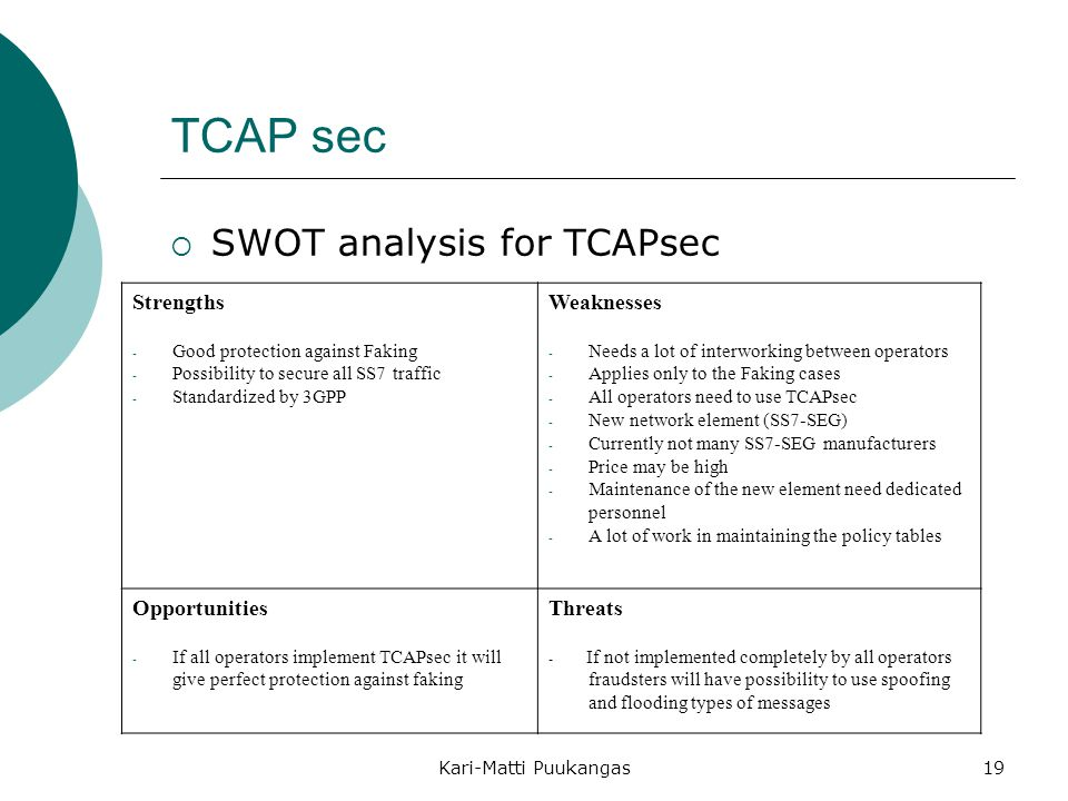 TCAP sec SWOT analysis for TCAPsec Strengths Weaknesses Opportunities