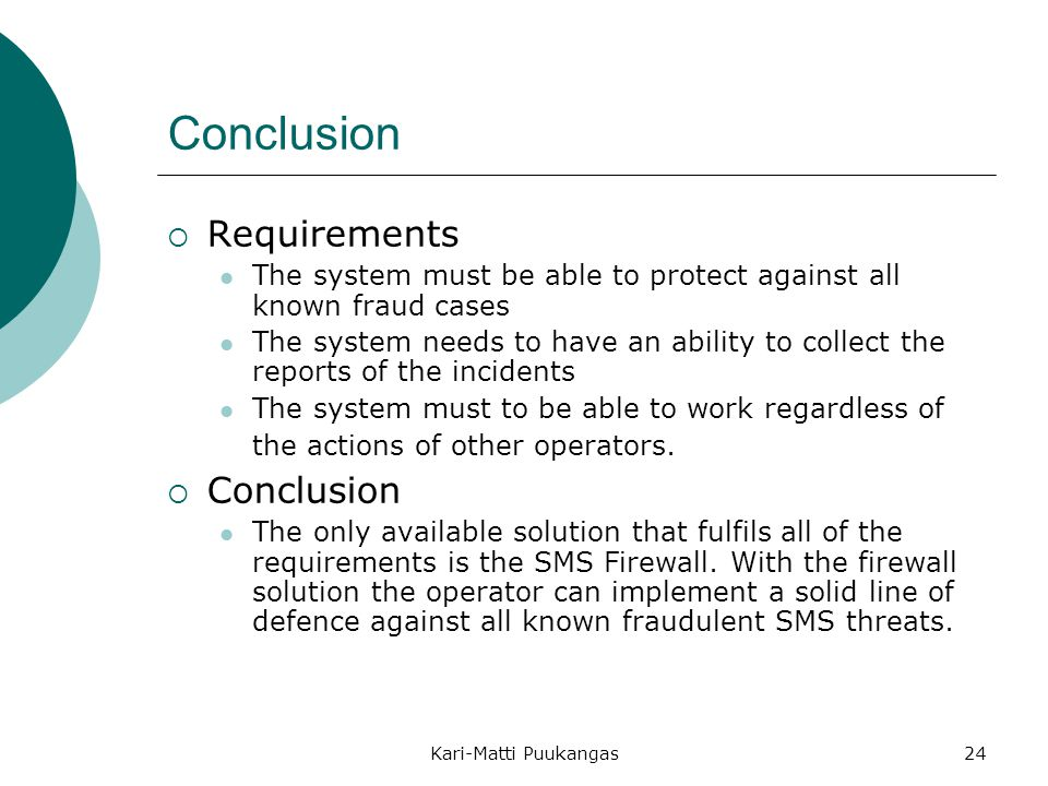 Conclusion Requirements Conclusion