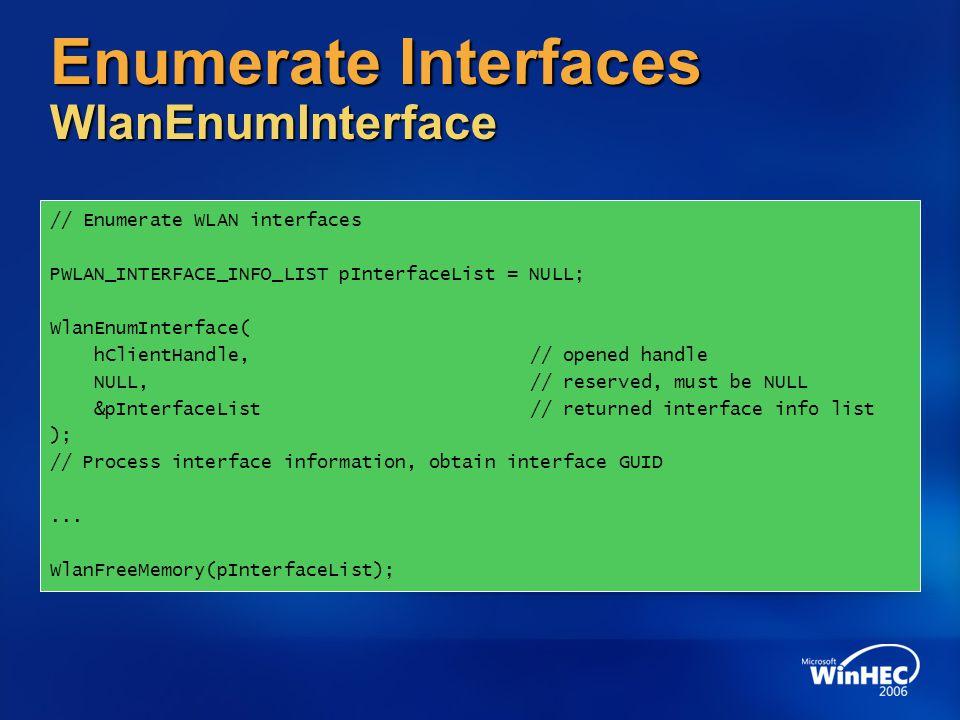 Enumerate Interfaces WlanEnumInterface
