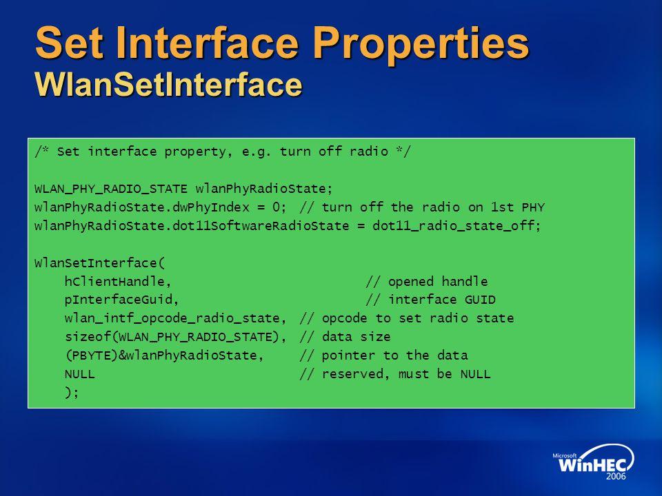 Set Interface Properties WlanSetInterface