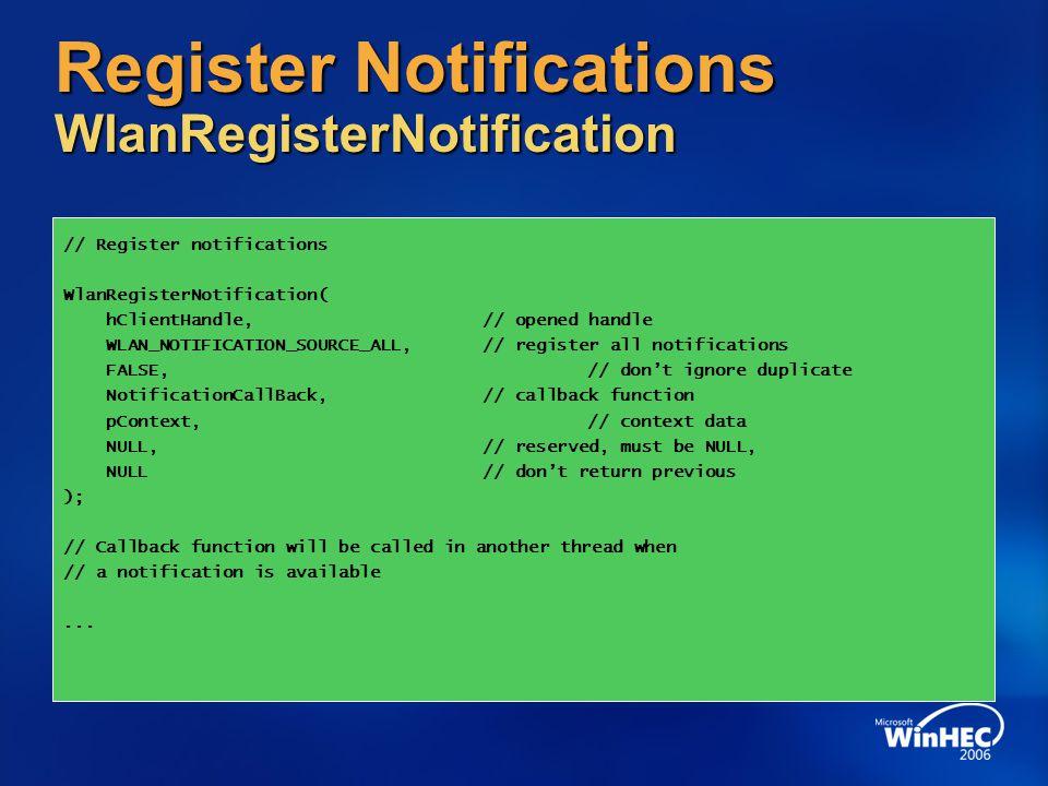 Register Notifications WlanRegisterNotification