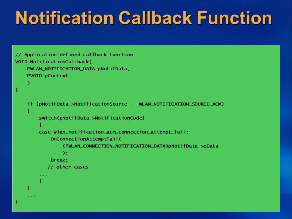 Notification Callback Function