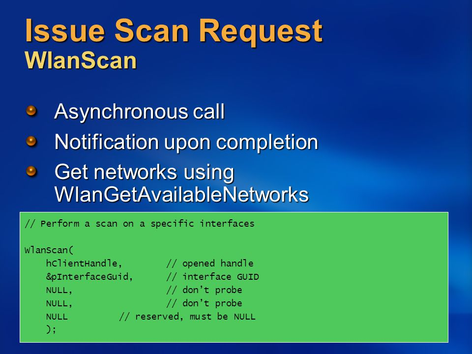 Issue Scan Request WlanScan