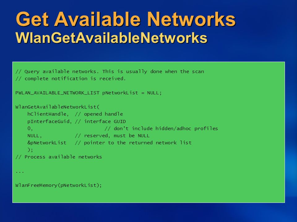 Get Available Networks WlanGetAvailableNetworks