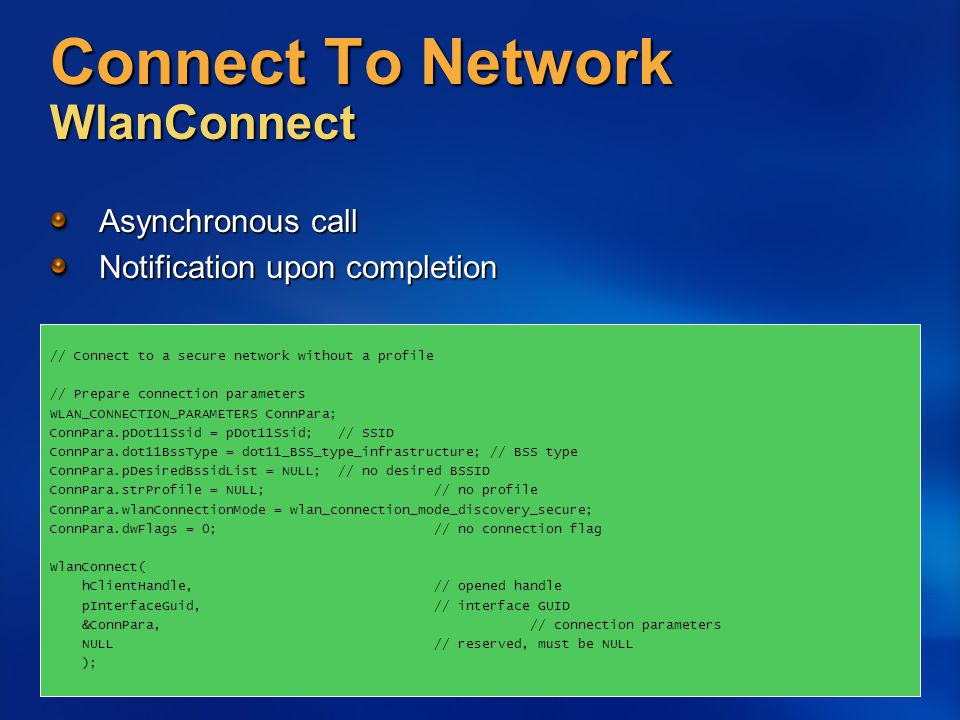 Connect To Network WlanConnect