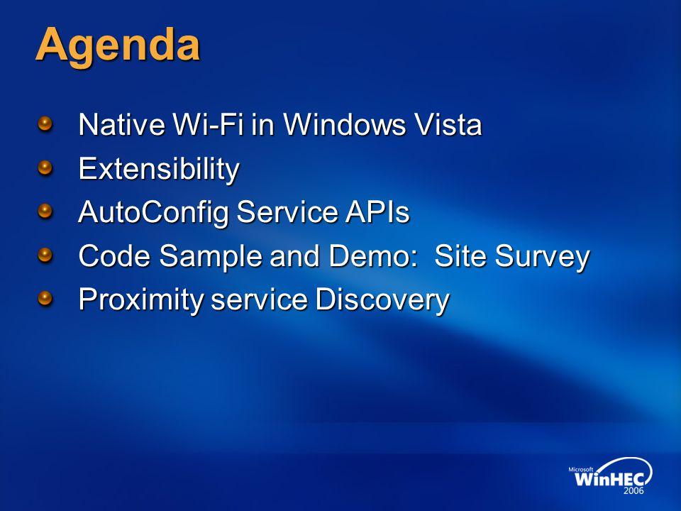 Agenda Native Wi-Fi in Windows Vista Extensibility