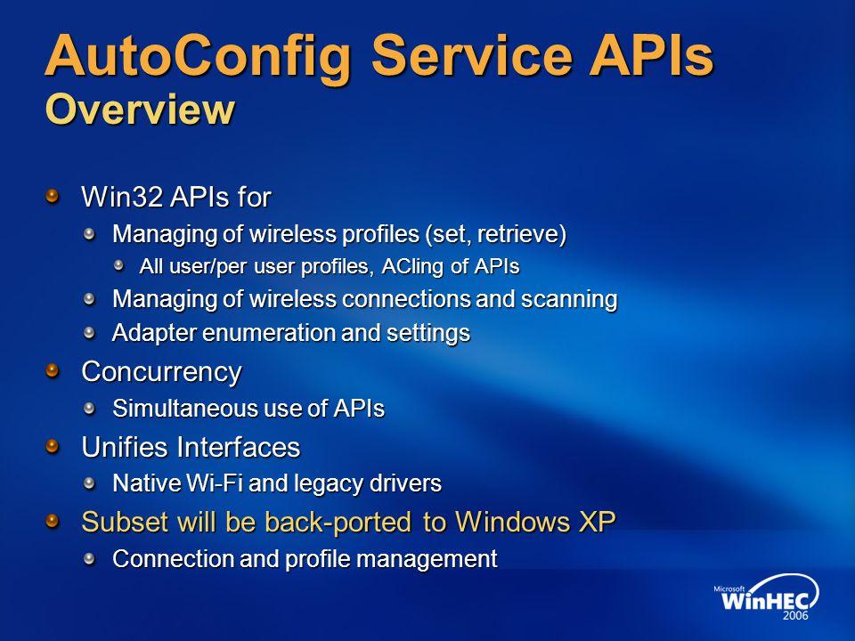 AutoConfig Service APIs Overview