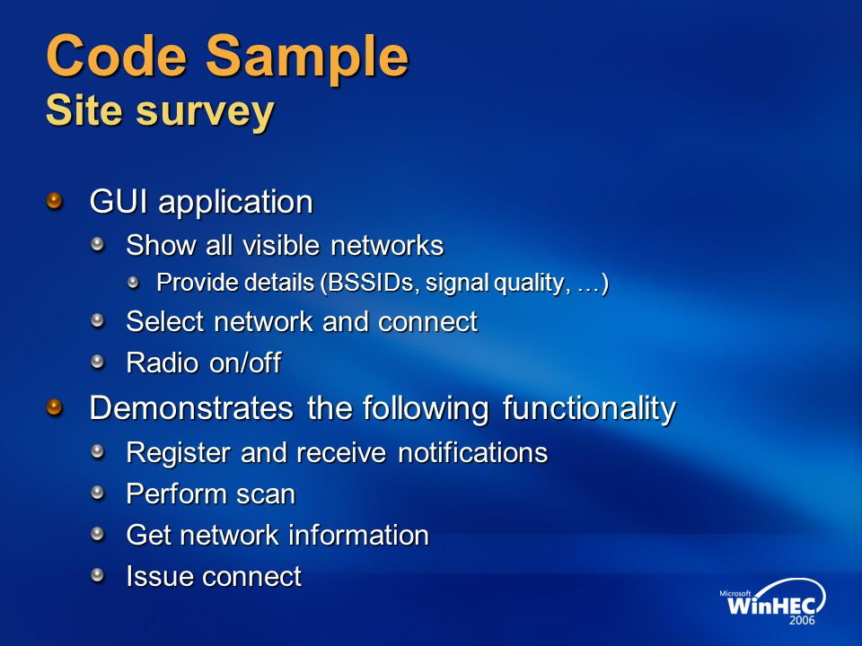 Code Sample Site survey