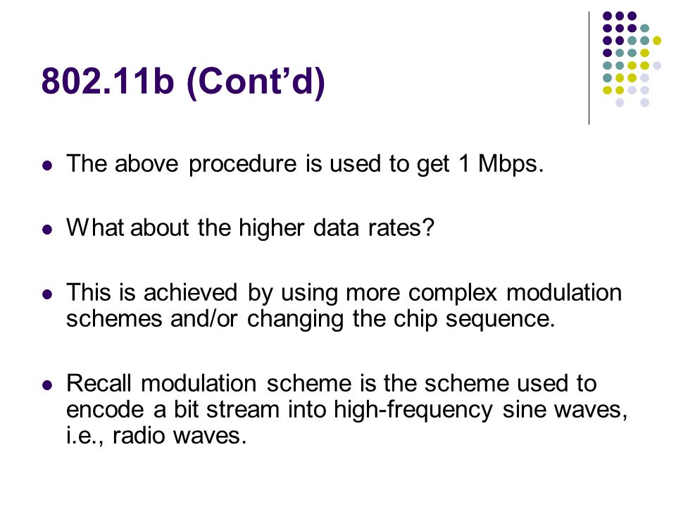 802.11b (Cont'd) The above procedure is used to get 1 Mbps.