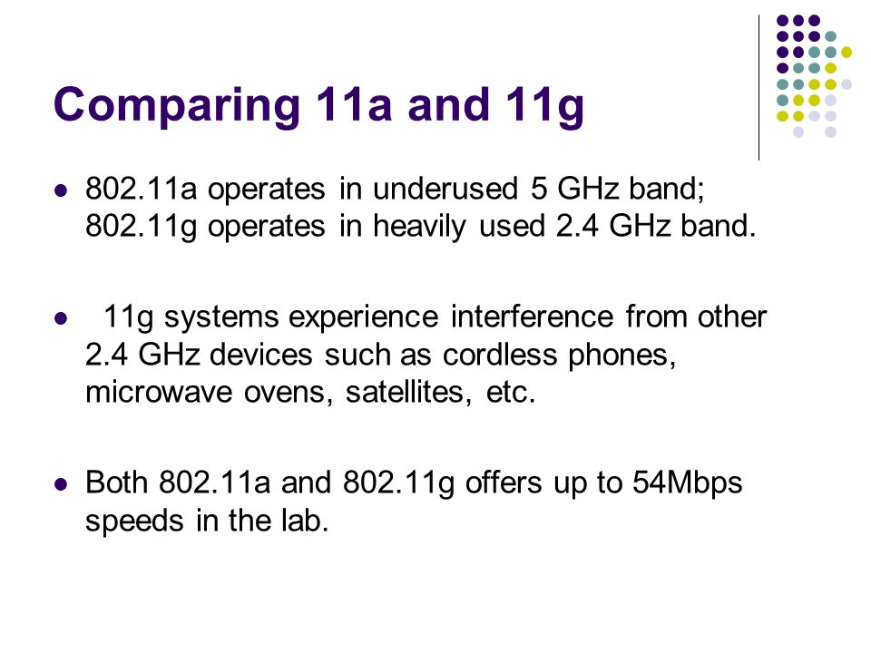 Comparing 11a and 11g 802.11a operates in underused 5 GHz band; 802.11g operates in heavily used 2.4 GHz band.