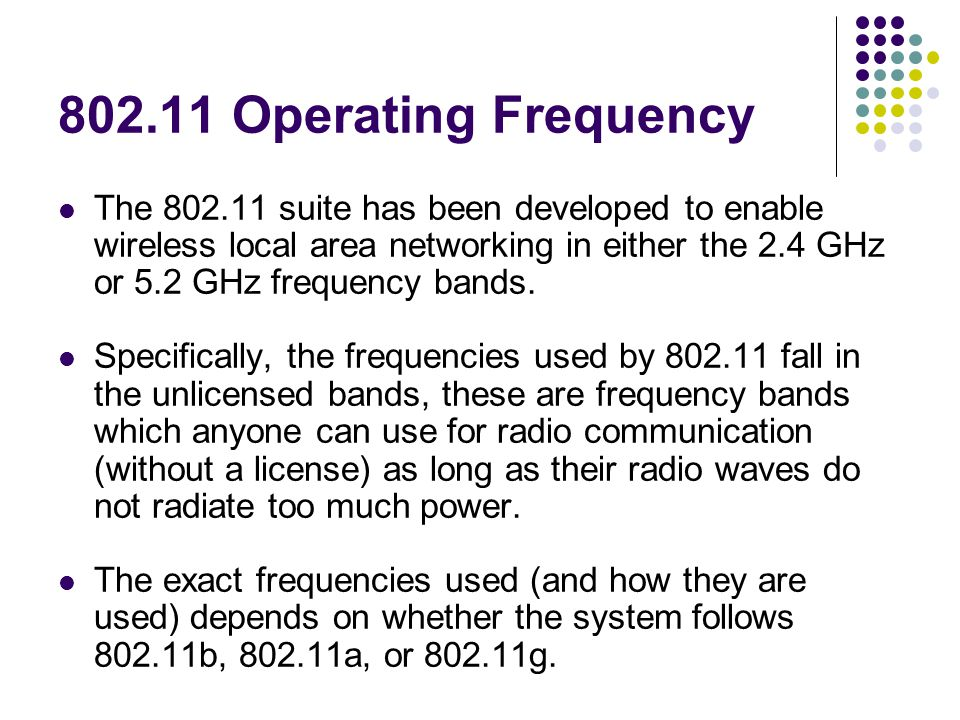 802.11 Operating Frequency