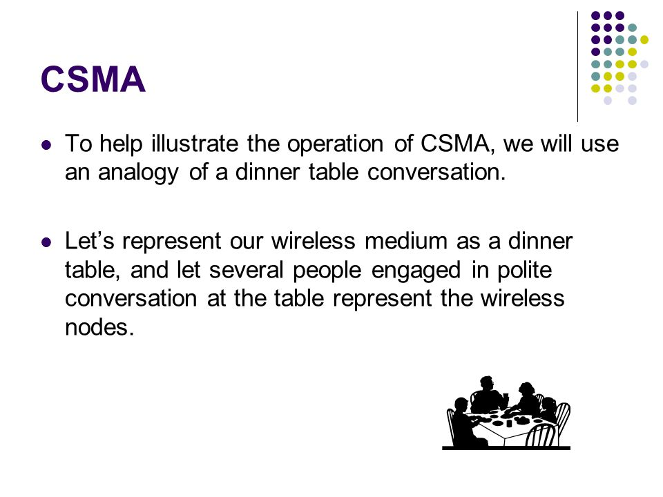 CSMA To help illustrate the operation of CSMA, we will use an analogy of a dinner table conversation.