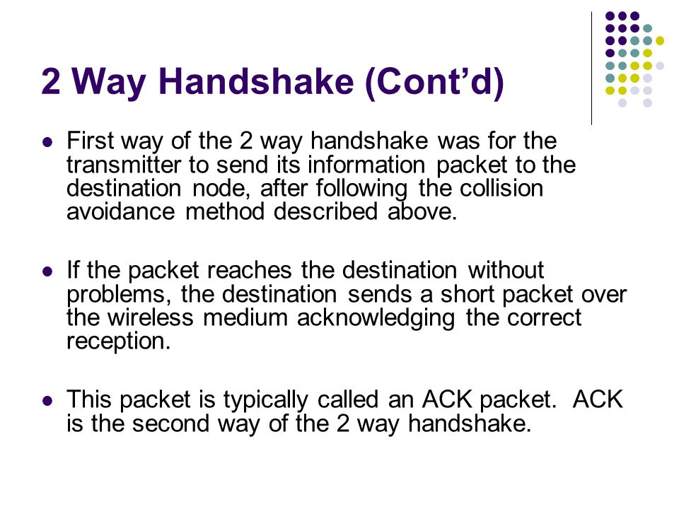 2 Way Handshake (Cont'd)