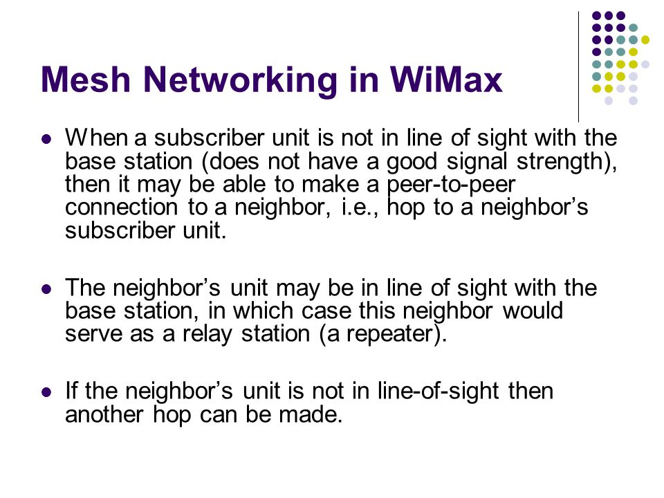 Mesh Networking in WiMax
