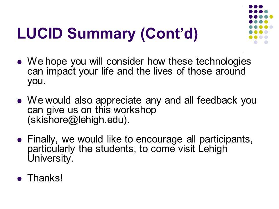 LUCID Summary (Cont'd)