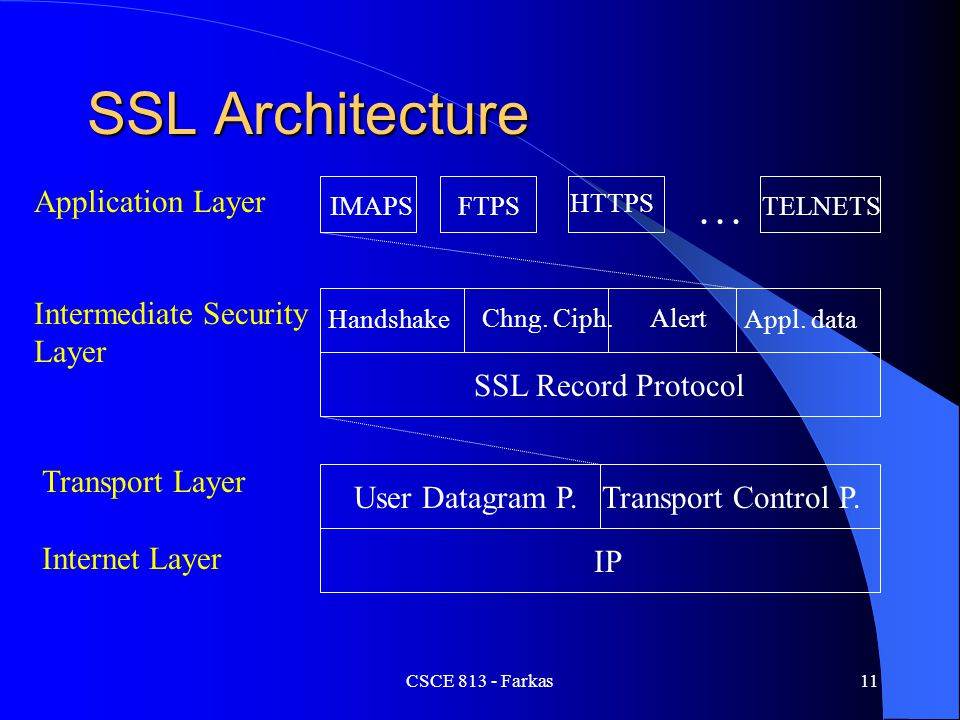 SSL Architecture … IP SSL Record Protocol User Datagram P.