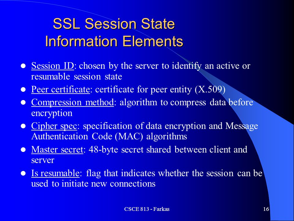 SSL Session State Information Elements