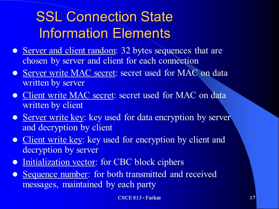 SSL Connection State Information Elements