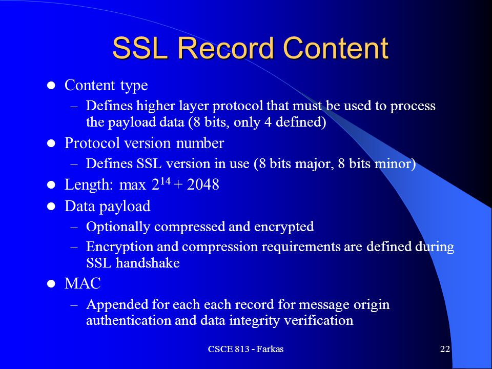 SSL Record Content Content type Protocol version number