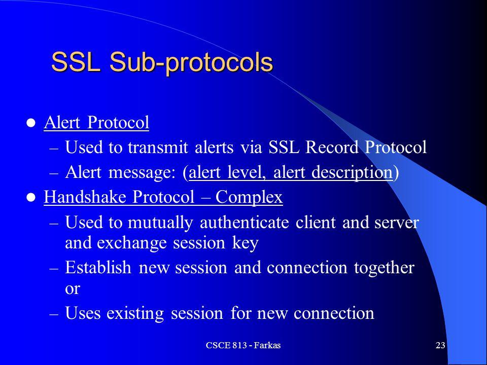 SSL Sub-protocols Alert Protocol
