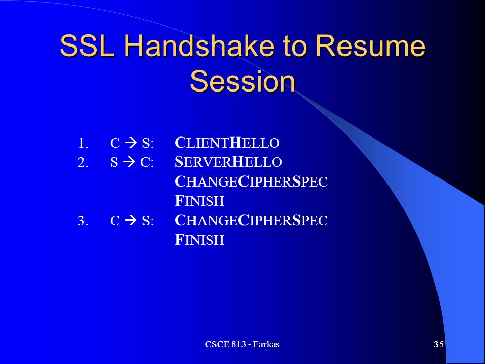 SSL Handshake to Resume Session