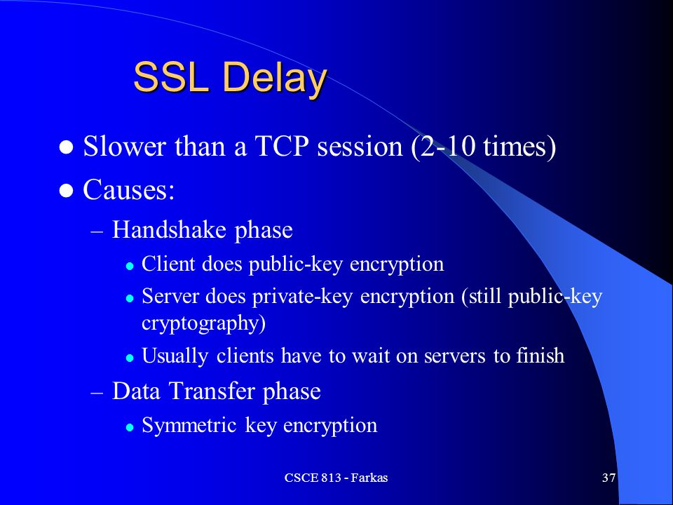 SSL Delay Slower than a TCP session (2-10 times) Causes: