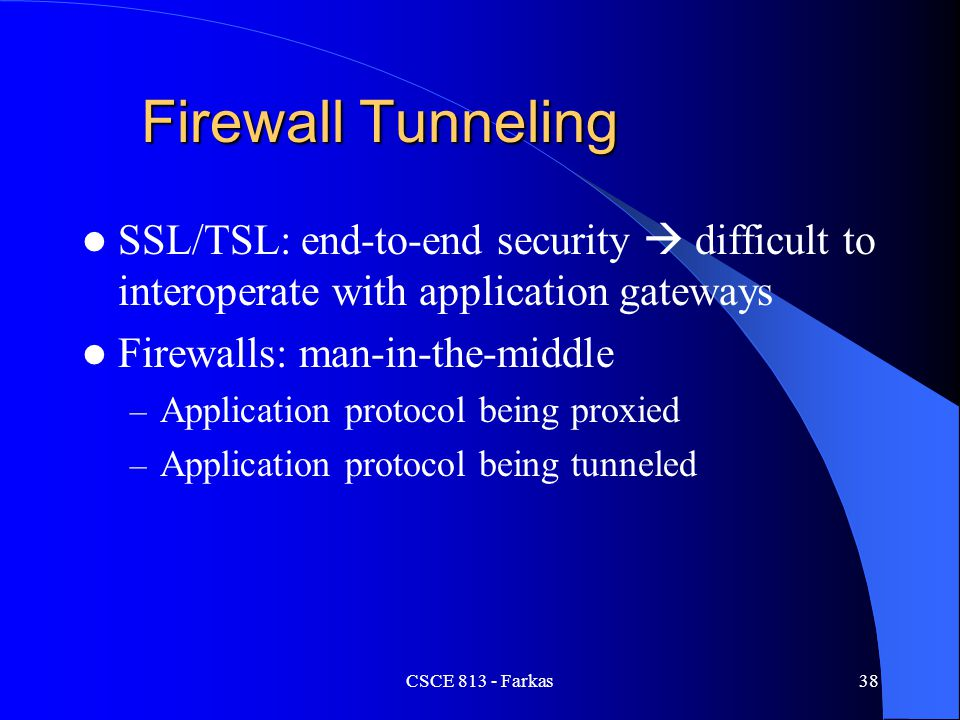 Firewall Tunneling SSL/TSL: end-to-end security  difficult to interoperate with application gateways.