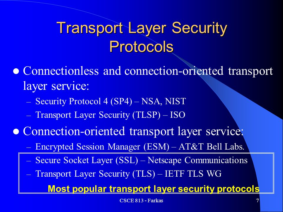 Transport Layer Security Protocols