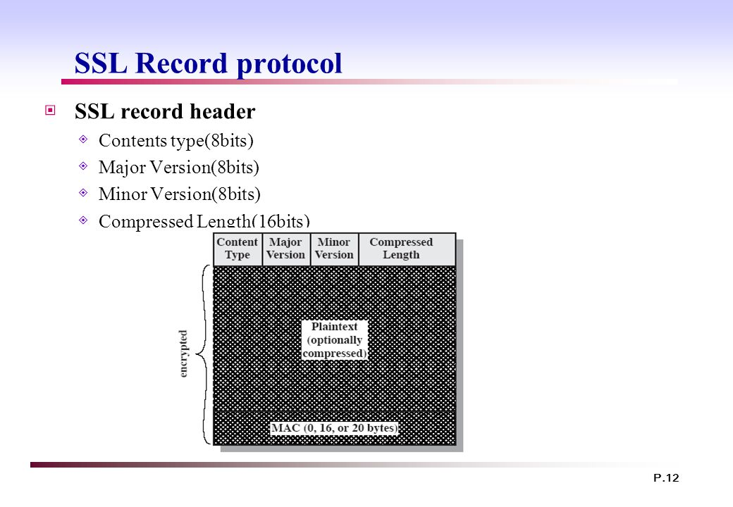 SSL Record protocol SSL record header Contents type(8bits)