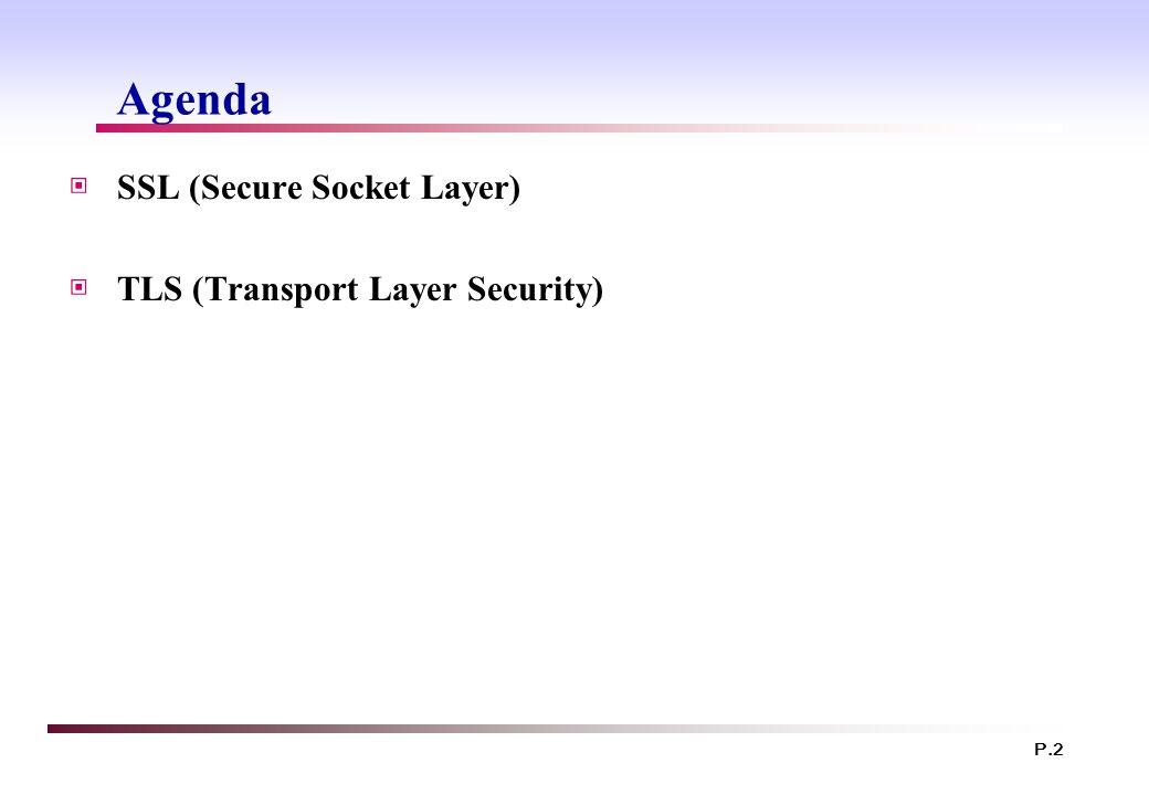 Agenda SSL (Secure Socket Layer) TLS (Transport Layer Security)