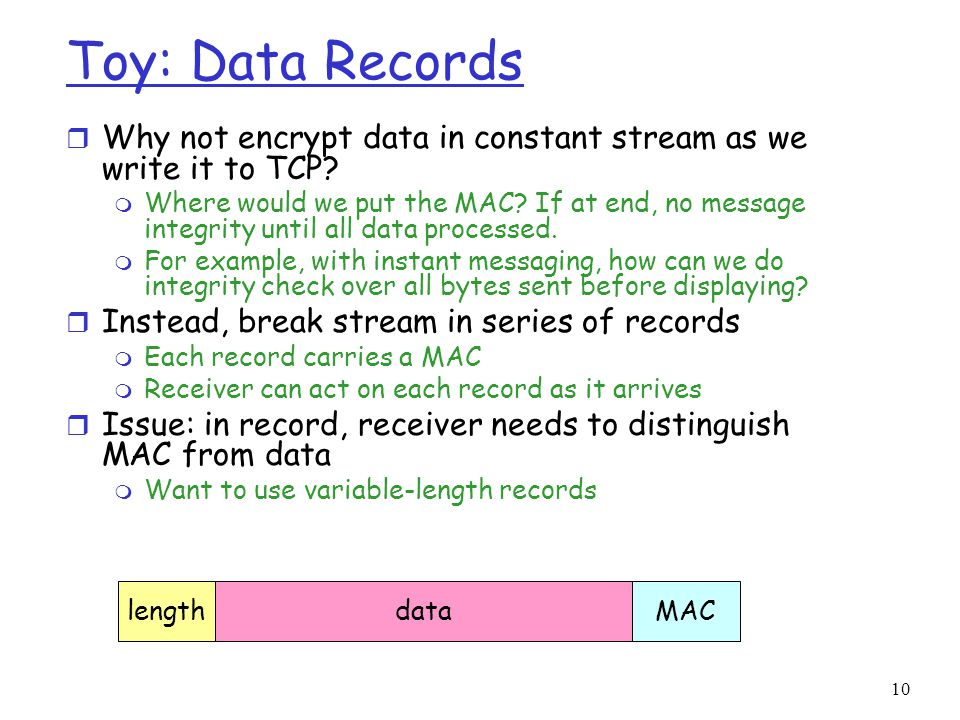 Toy: Data Records Why not encrypt data in constant stream as we write it to TCP