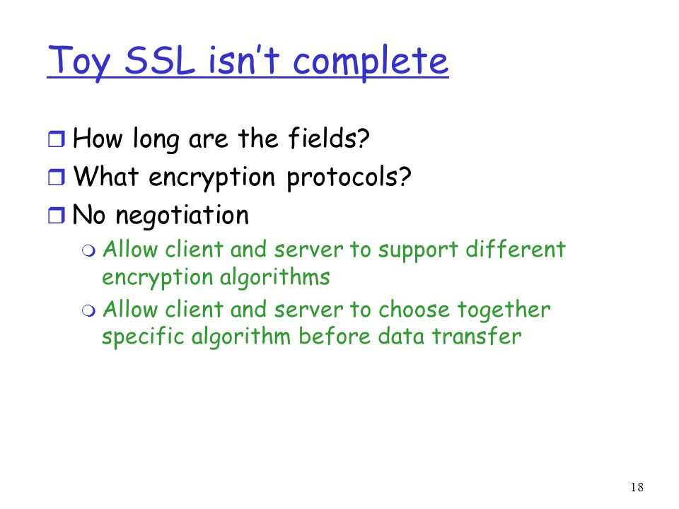 Toy SSL isn't complete How long are the fields