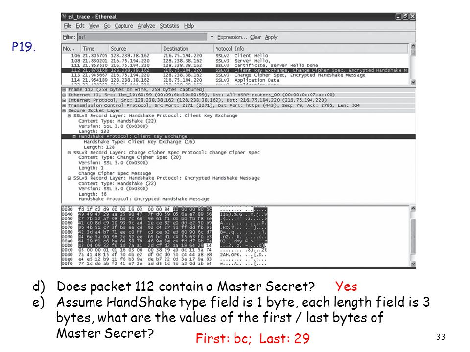 P19. d) Does packet 112 contain a Master Secret