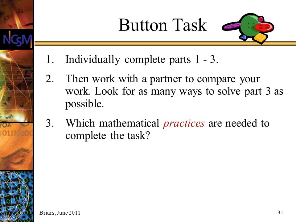 Button Task Individually complete parts 1 - 3.