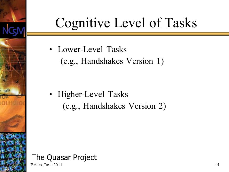Cognitive Level of Tasks