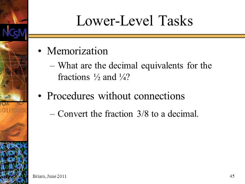 Lower-Level Tasks Memorization Procedures without connections