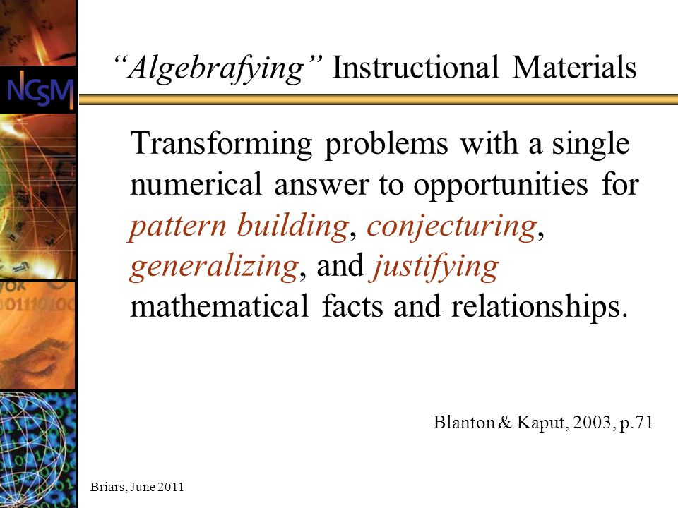 Algebrafying Instructional Materials