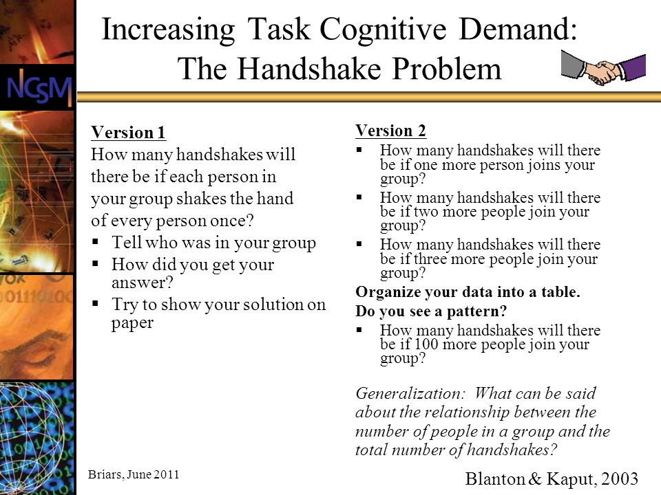 Increasing Task Cognitive Demand: The Handshake Problem