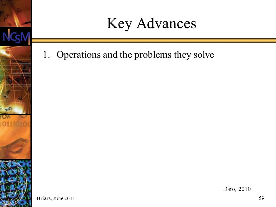 Key Advances Operations and the problems they solve