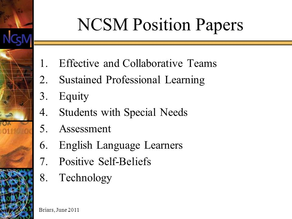 NCSM Position Papers Effective and Collaborative Teams