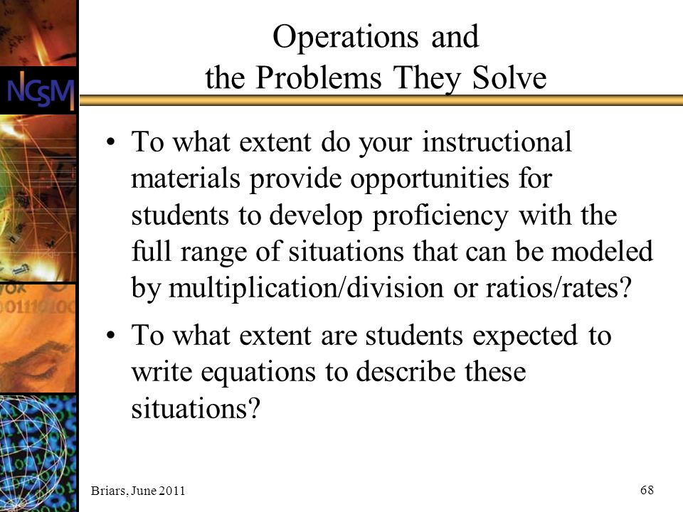 Operations and the Problems They Solve