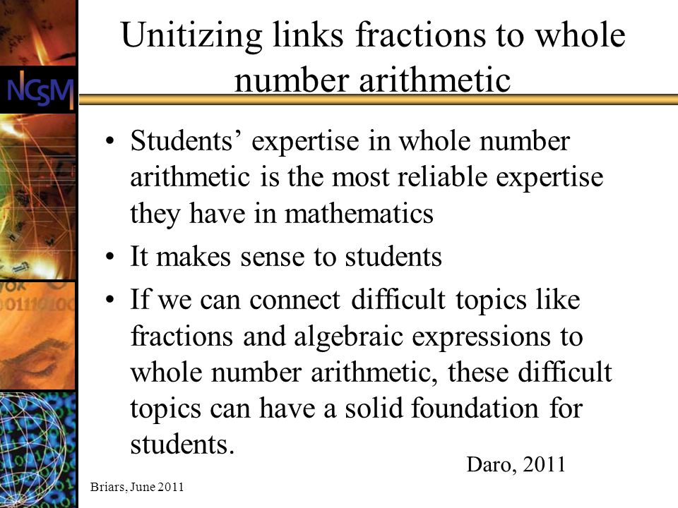 Unitizing links fractions to whole number arithmetic